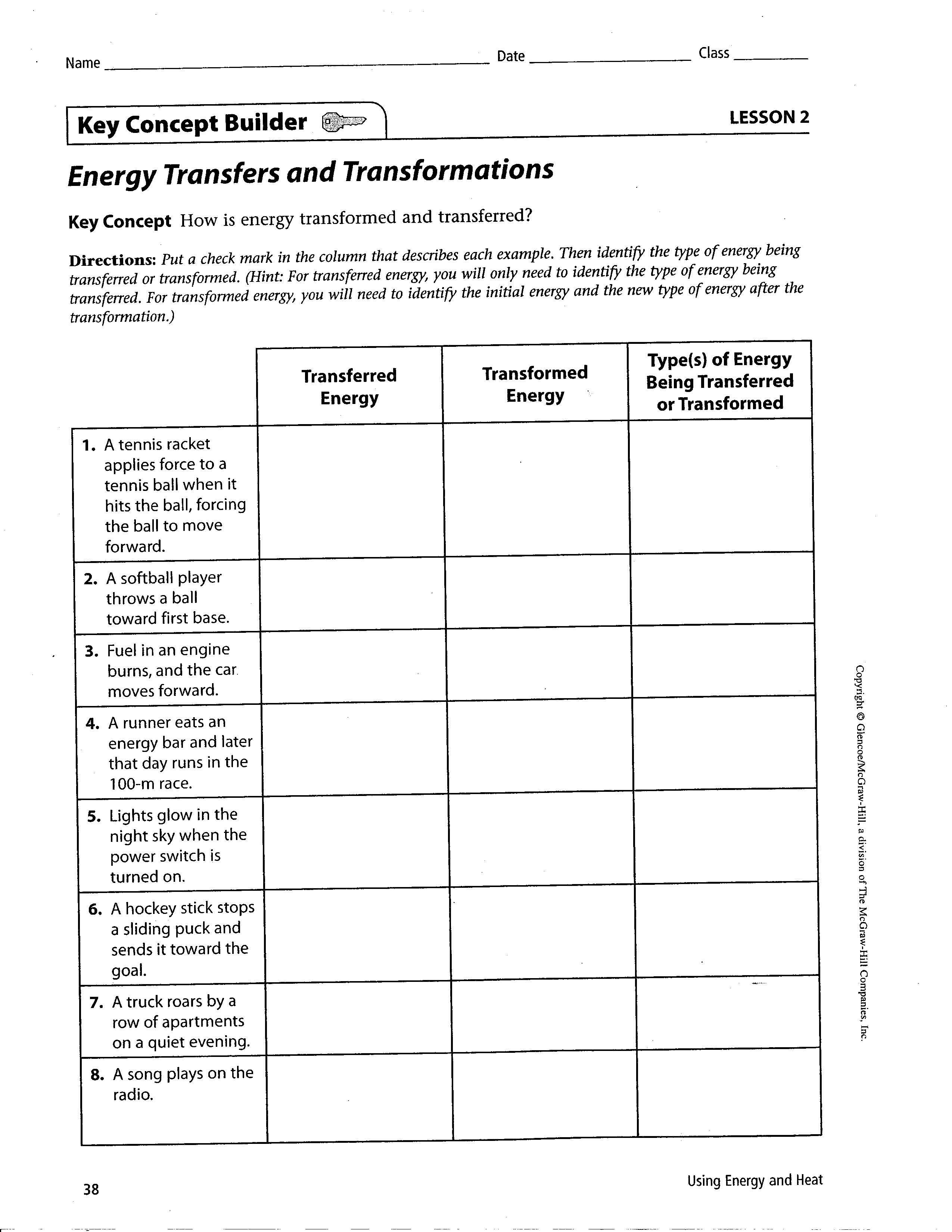 Worksheet Energy Transformation Worksheet Smart Potential