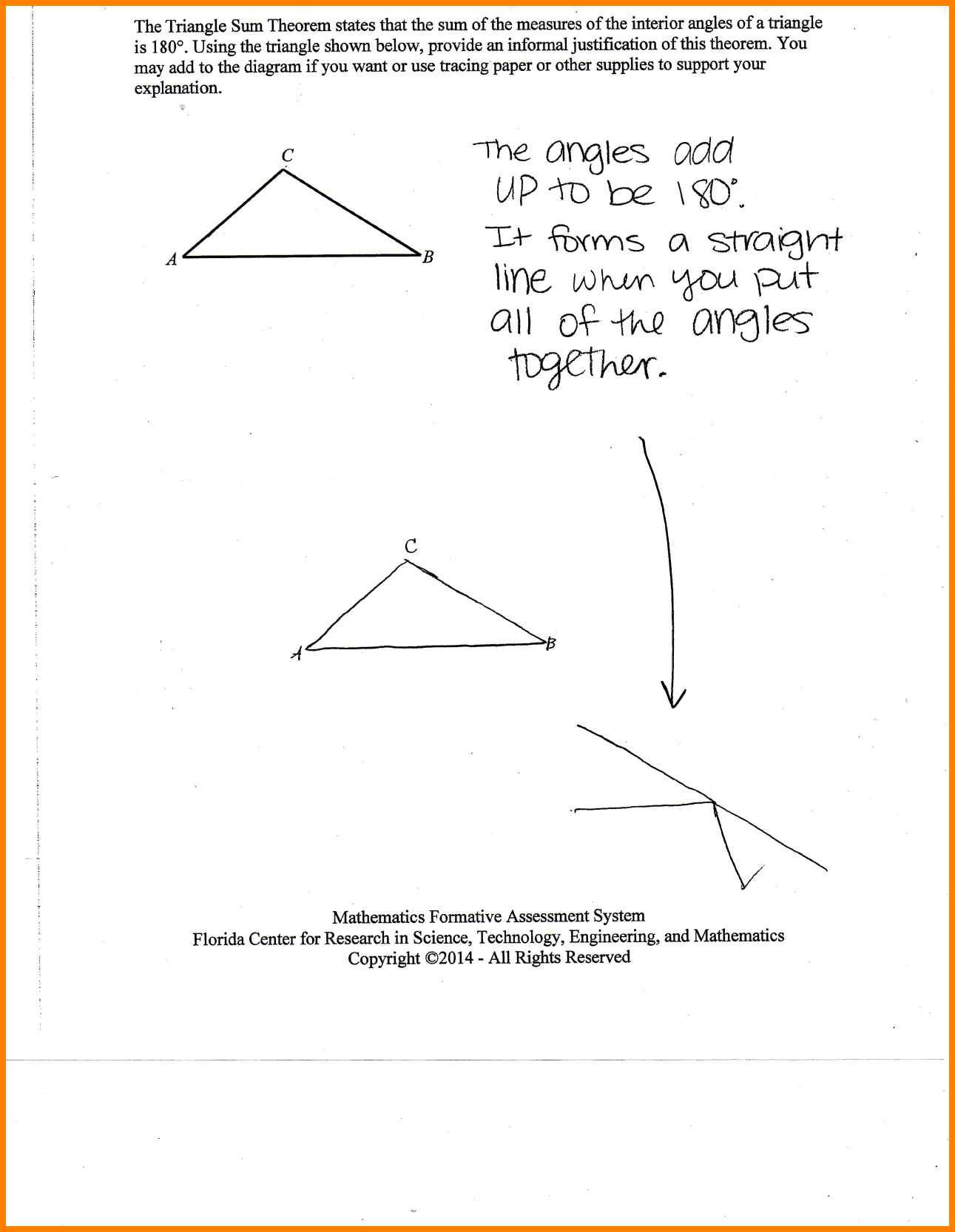 Worksheet Exterior Angle Theorem Worksheet Triangle Sum