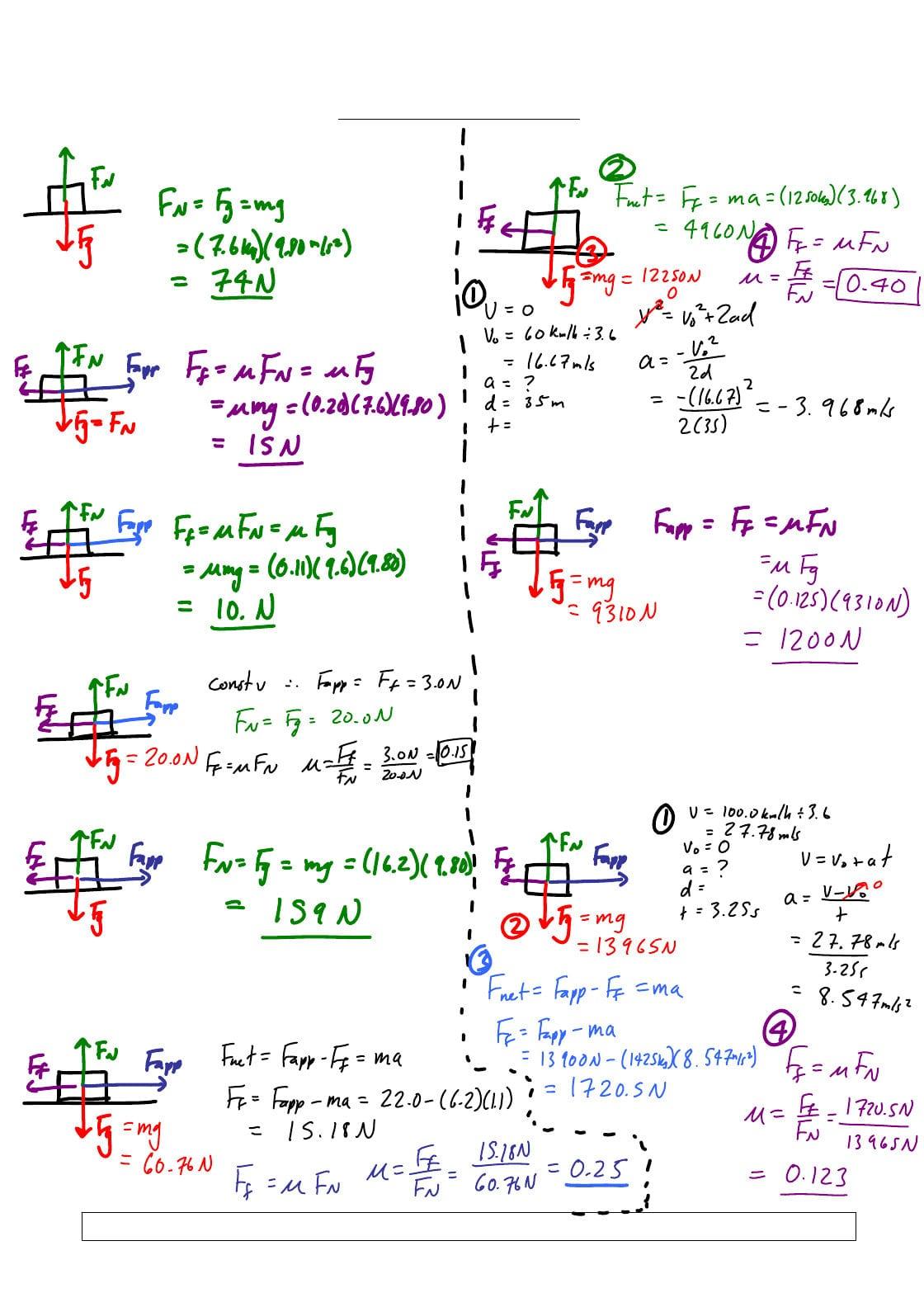 Friction Worksheet Answers