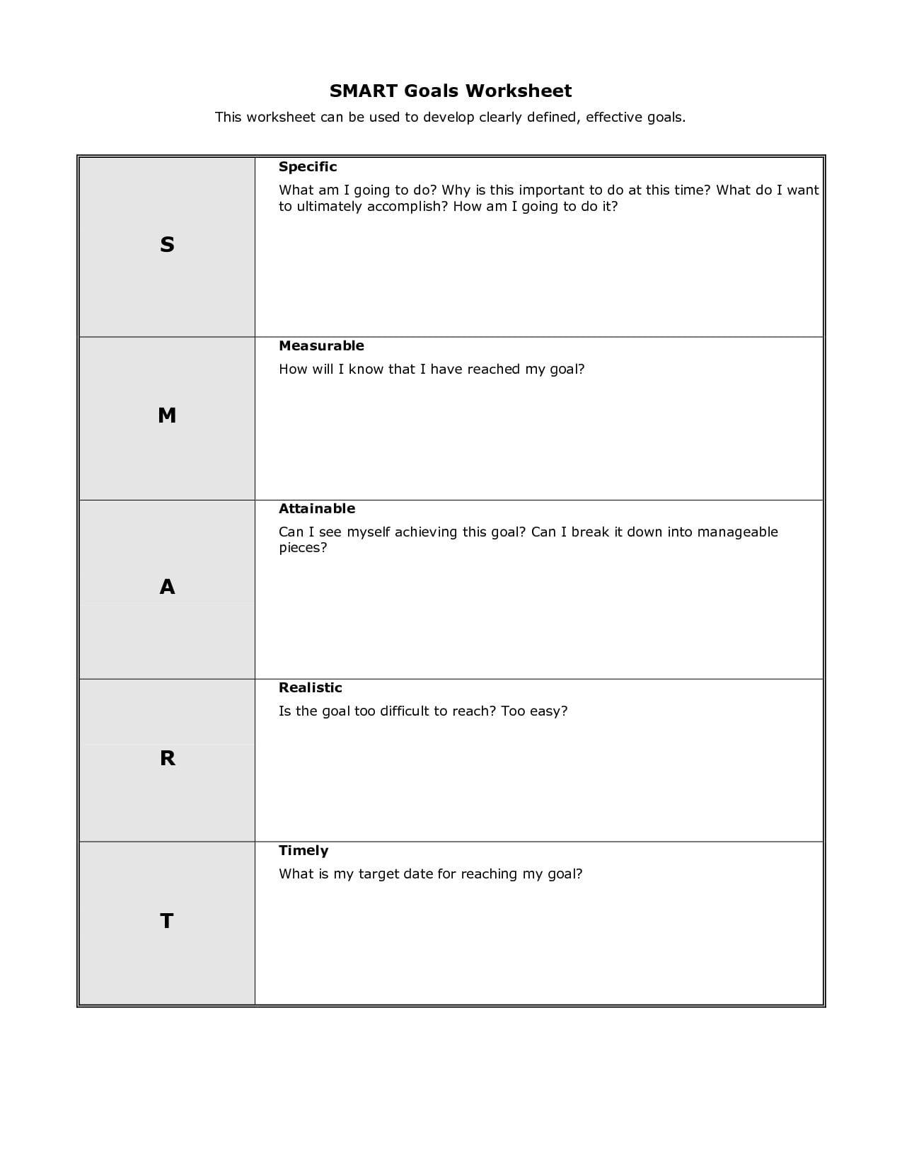 Goal Setting Worksheet For High School Students