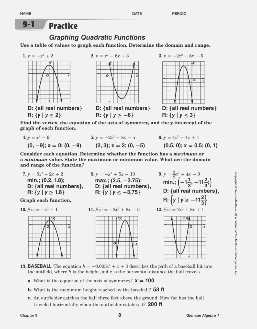 Worksheet Graphing Quadratics From Standard Form Answer