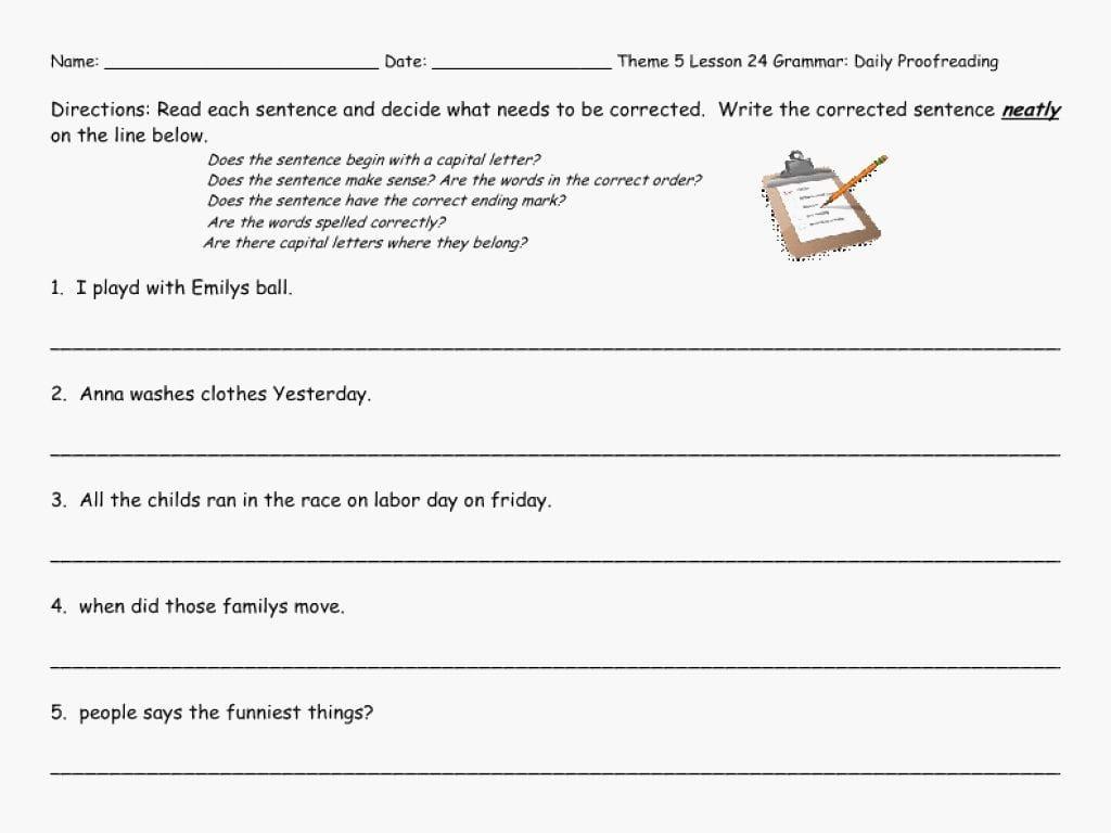 Revising And Editing Worksheets