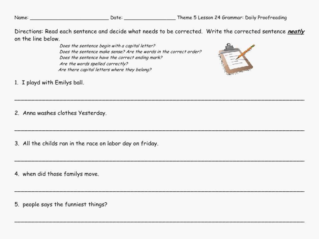 Worksheet Ideas 6th Grade Editing Practice Revising