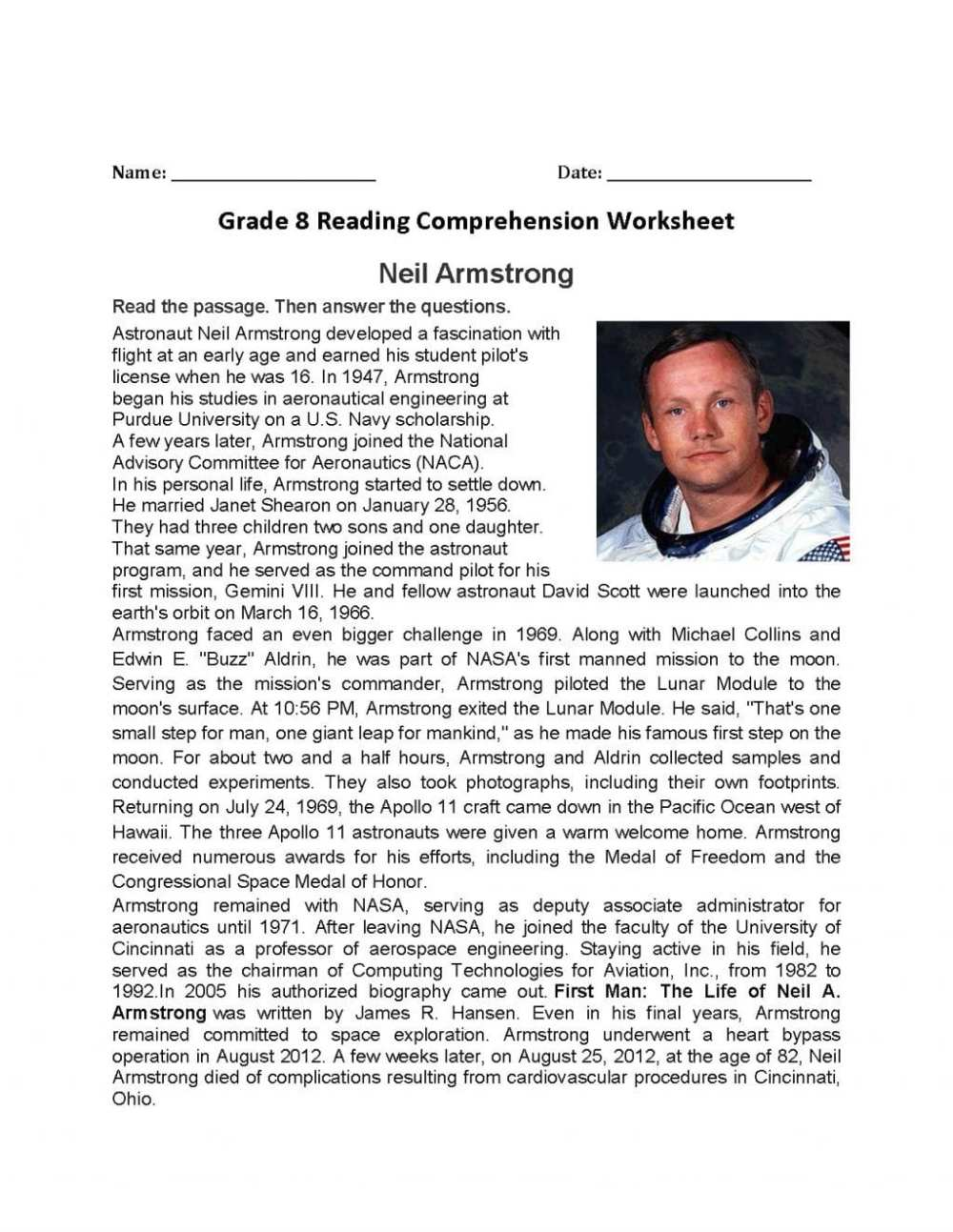 medium resolution of Reading Comprehension Worksheets Grade 8   Printable Worksheets and  Activities for Teachers