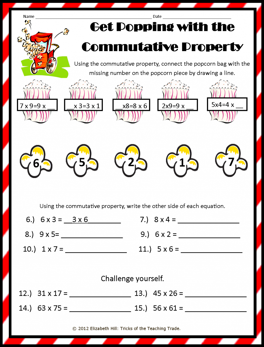 Commutative Property Of Multiplication Worksheets