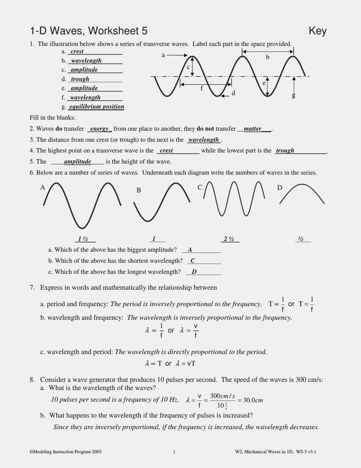 Worksheet Labeling Waves Answer Key