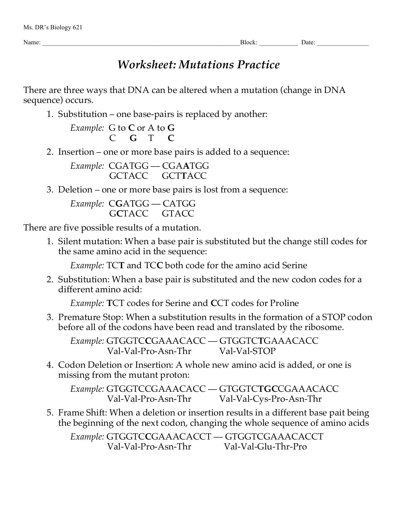 Worksheet Mutations Practice