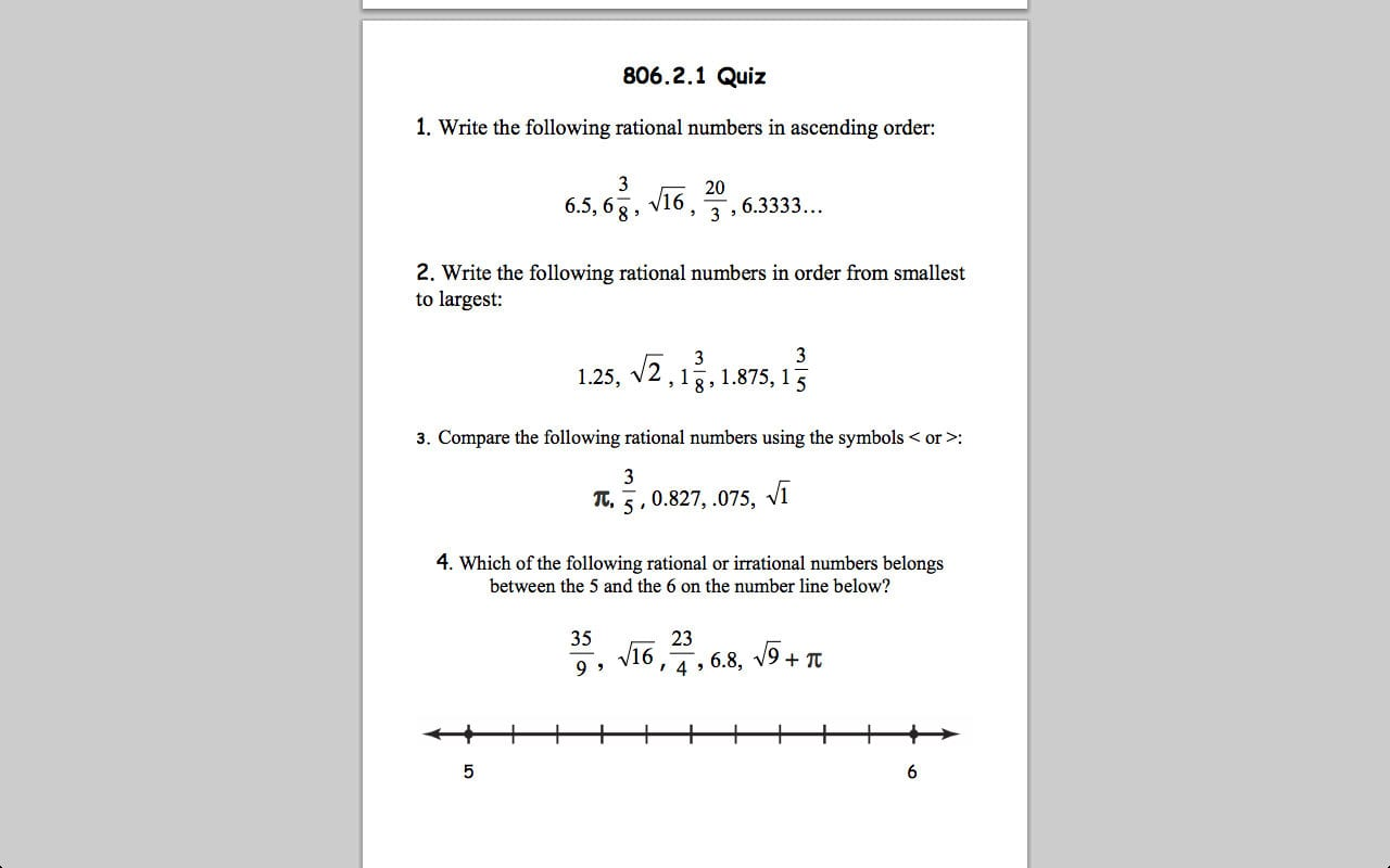 Worksheet Ordering Rational Numbers Worksheet Dcmc Math Cl