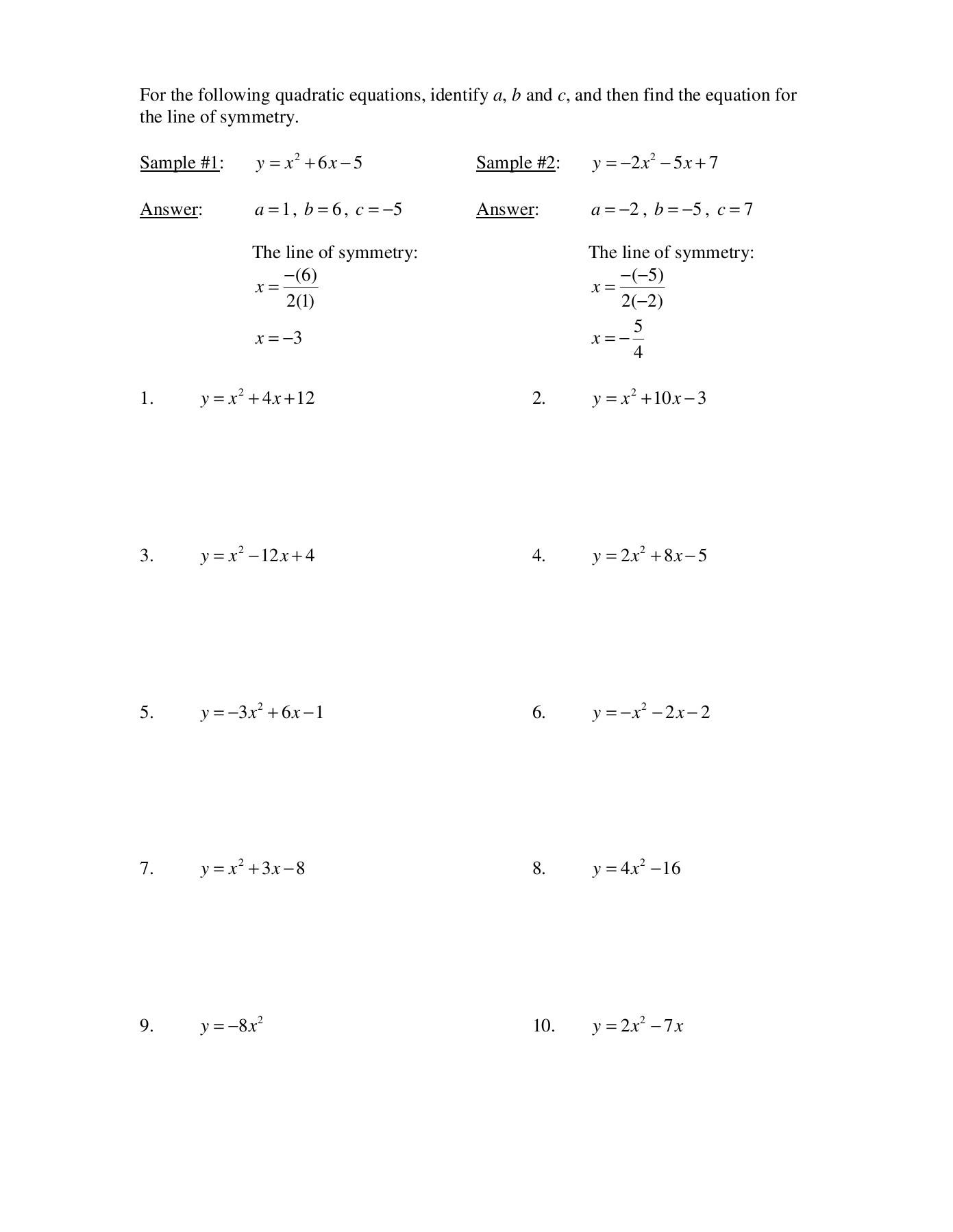 Worksheet Standard Form Line Of Symmetry And Vertex For