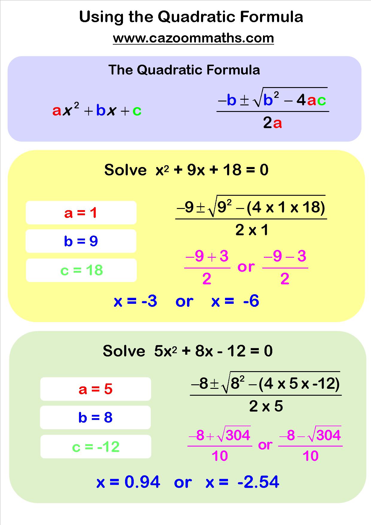 Worksheet Using The Quadratic Formula Worksheet Solving