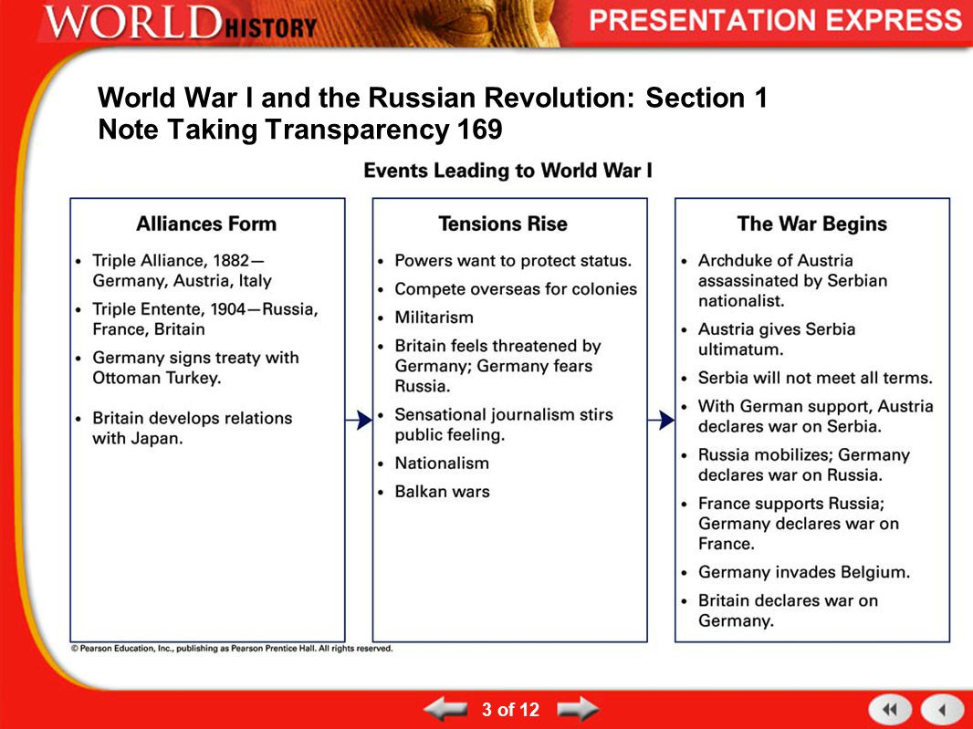 Chapter 11 Section 1 World War 1 Begins Worksheet Answers