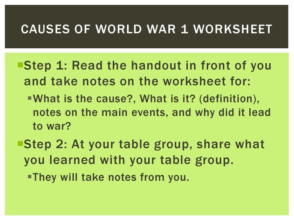 Causes Of World War 1 Worksheet