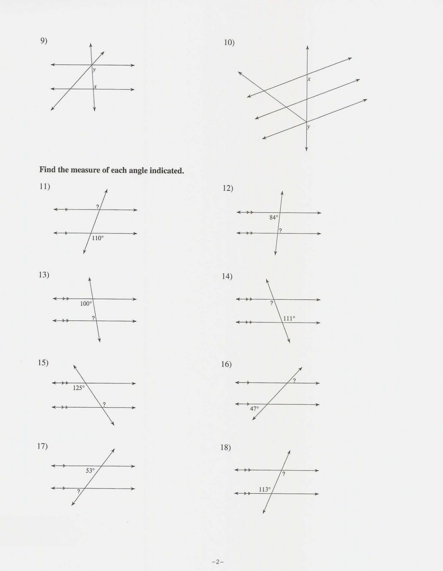 Find The Measure Of Each Angle Indicated Worksheet Answers