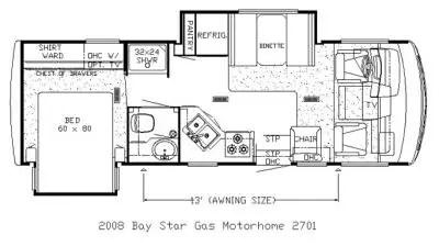 2008 Newmar Bay Star BSCA 2701 Floorplan