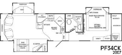 2007 CrossRoads RV Paradise Pointe PF34CK Floorplan