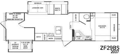 2007 CrossRoads RV Zinger ZF29BS Floorplan