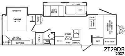 2007 CrossRoads RV Zinger ZT29DB Floorplan
