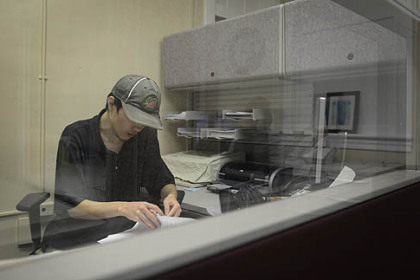 "Evan Badesch, 26, of Silver Spring, Md., works at his on-campus job at the Autism Center at Marshall University in Huntington, W.Va. ""A program like this will eventually help you transition from college life to what you will do right after college,"" he said."