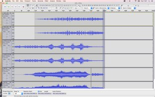 Audacity workspace - samples and soundscapes layered layered into separate channels that correspond with a 5.1 surround sound mix