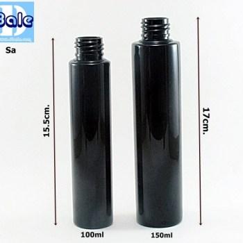 ขวดพลาสติก pet ไหล่ ตัดสีดำ ขนาด 100ml,150ml รุ่น SA