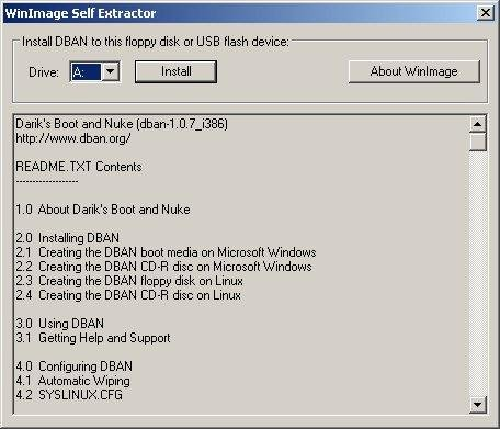 Use WinImage to install DBAN on to USB device