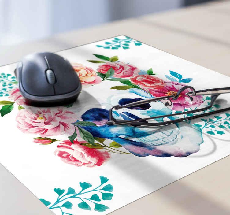 tapis de souris original crane et fleurs