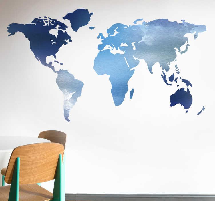 sticker carte du monde tons bleus