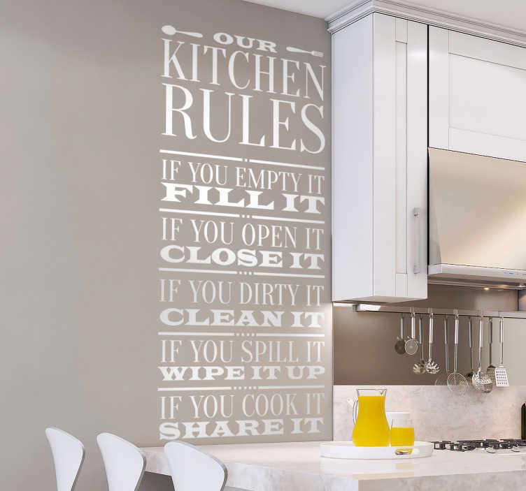 La nostra carta da parati per cucina si presenta in tante forme diverse per fare gola a tutti: Scritta Muro Casa Regole Di Base Della Cucina Tenstickers