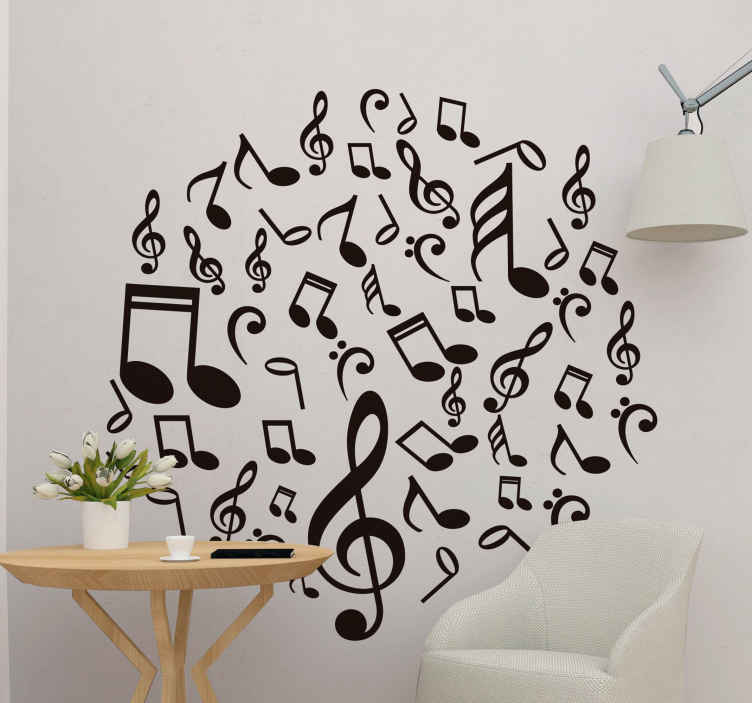 Con i nostri adesivi murali , potete personalizzare le vostre ca merette, stanze e qualsiasi ambiente, casa, ufficio, negozio, asili, ludoteca, nido, ecc. Adesivo Murale Camera Da Letto Nota Musicale Tenstickers