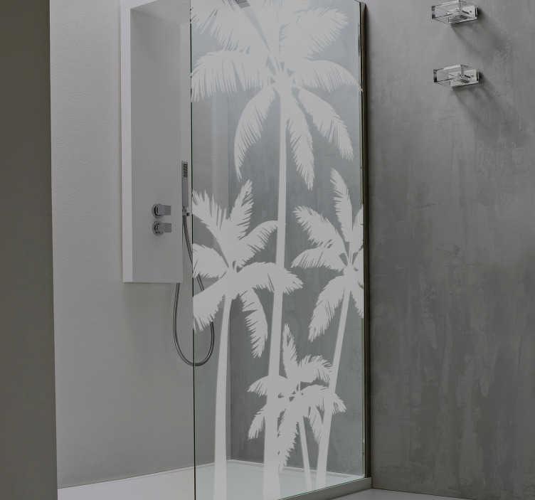 sticker salle de bain palmiers pour paroi douche