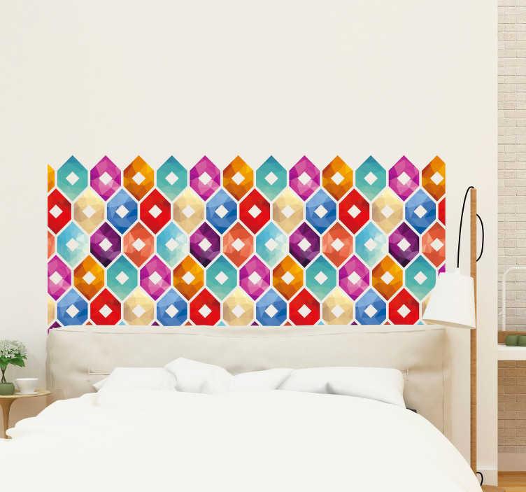 Decorare una parete con le pietre in camera da letto 20. Adesivo Testata Letto Piastrelle Esagonali Tenstickers