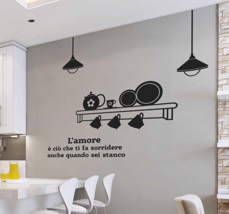 3 pareti a righe in camera da letto; Citazione Della Parete Della Cucina Adesivo Tenstickers