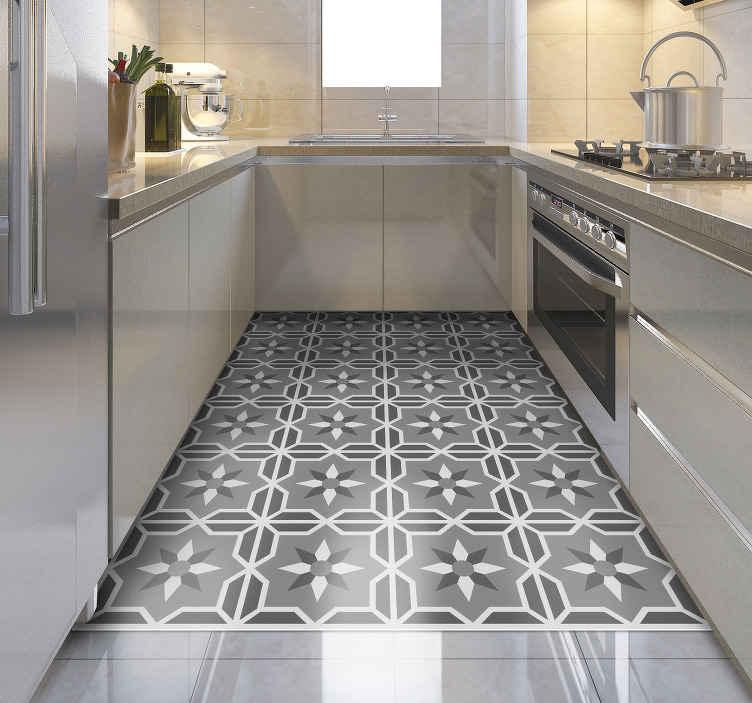 tapis de cuisine en vinyle geometrique