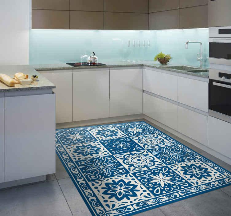 tapis de cuisine en sticker a carreaux bleu floral