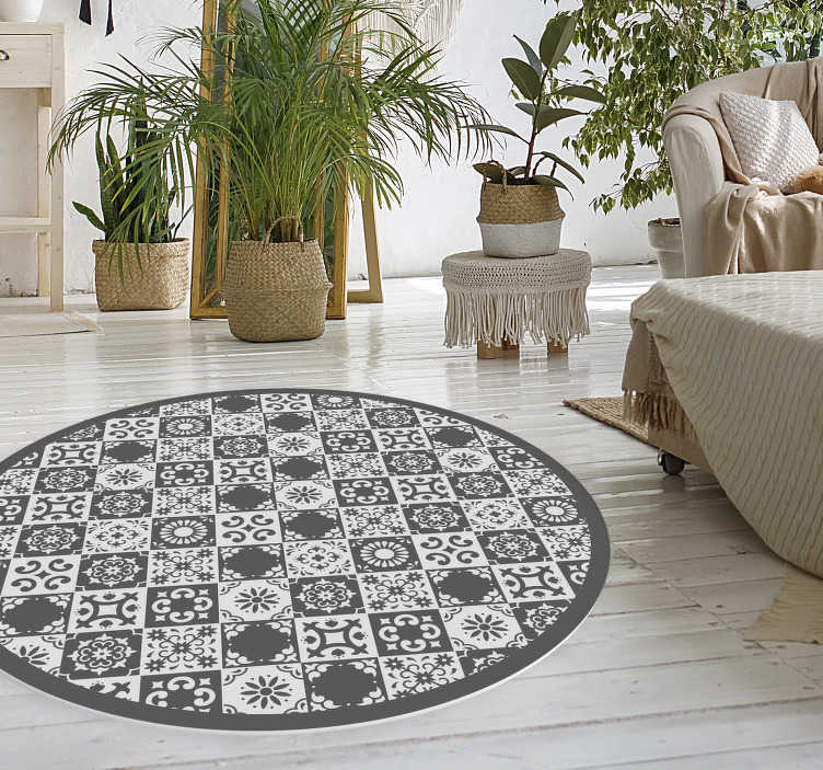 Gray And White Tiles Vinyl Bedroom Rug Tenstickers