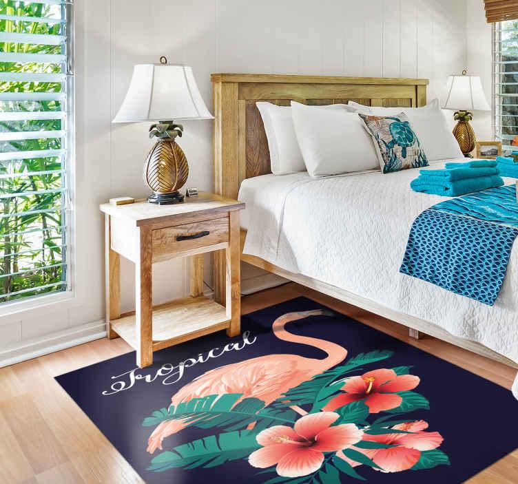 tapis vinyl forme animal flamant rose tropical noir