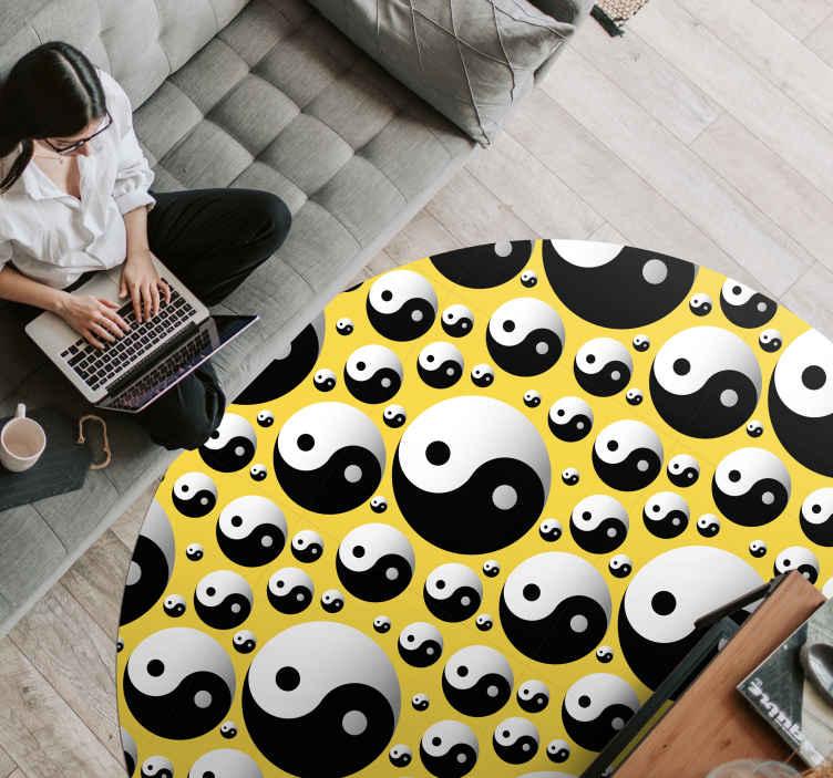 tapis vinyle motif ethnique tapis rond en sticker cercles yin yan