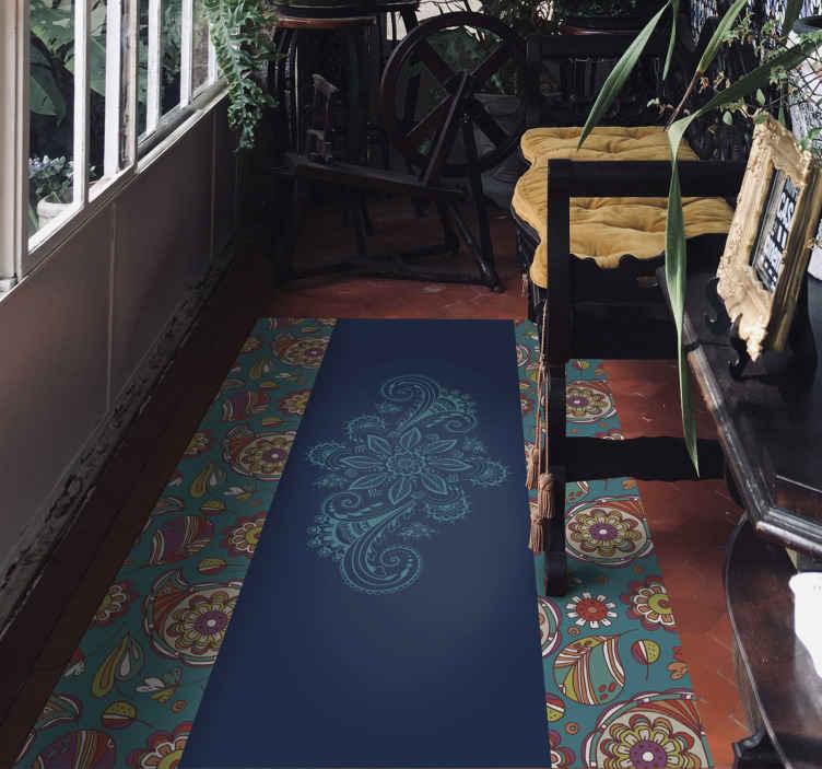 tapis vinyl pour couloir bleu paisley