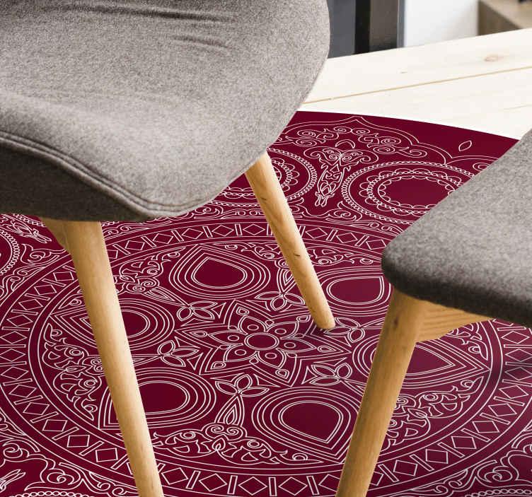 tapis vinyl ethnique mandala fleur de lotus