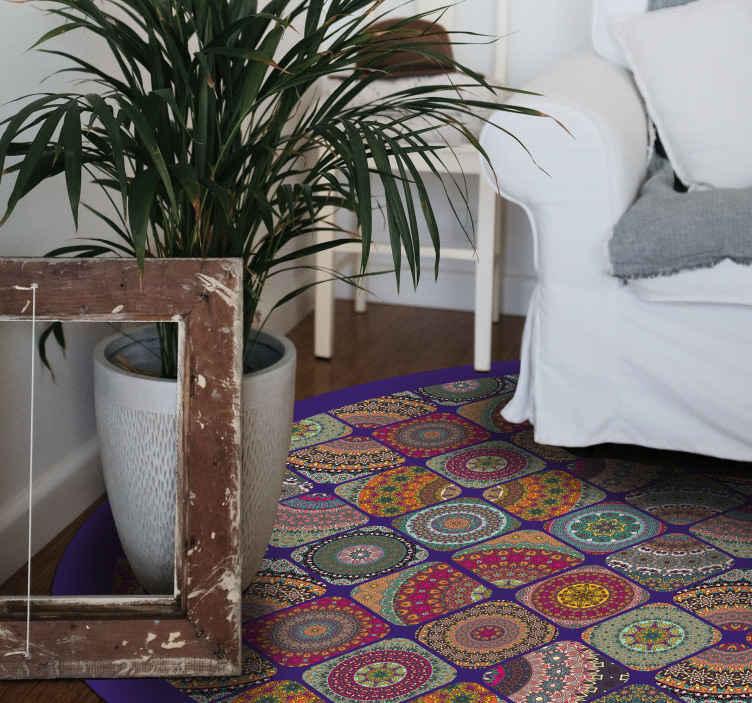 tapis vinyl carreaux de ciment patchwork colore vintage