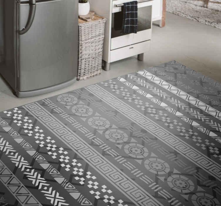 puzzle stamp effect on black mosaic vinyl flooring