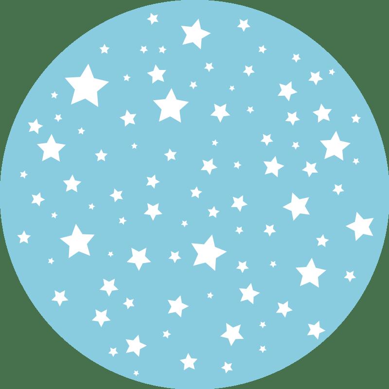 tapis vinyle rond etoiles bleues