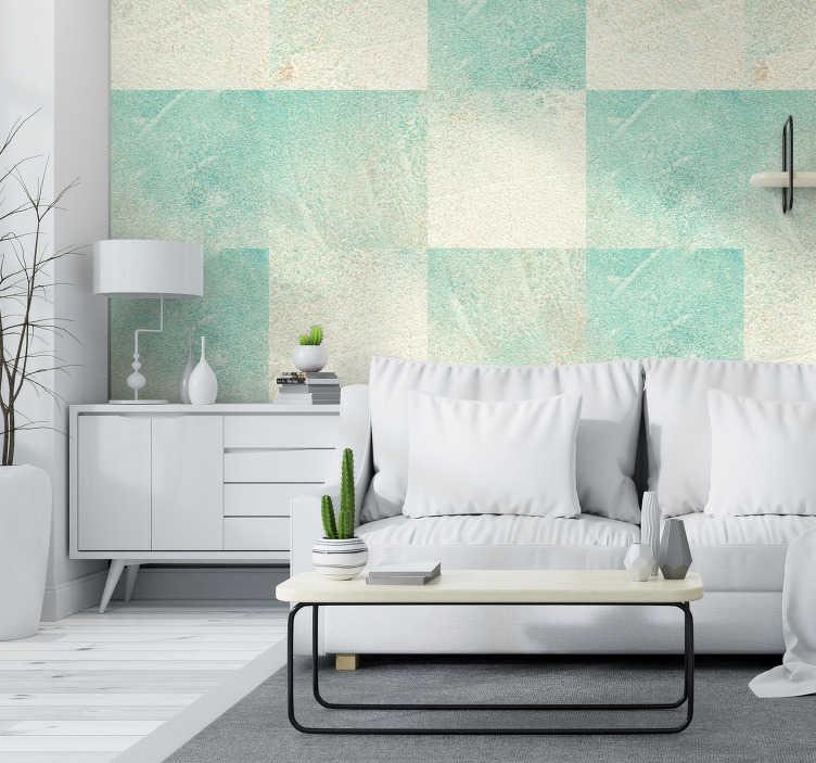 papier peint imitation mur beton turquoise en beton