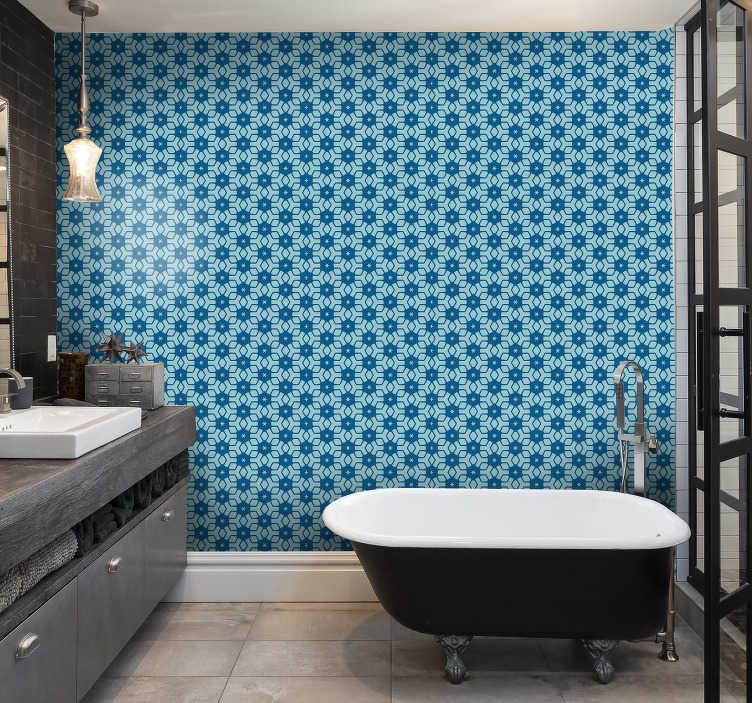 papier peint carrelage bleu salle de bain