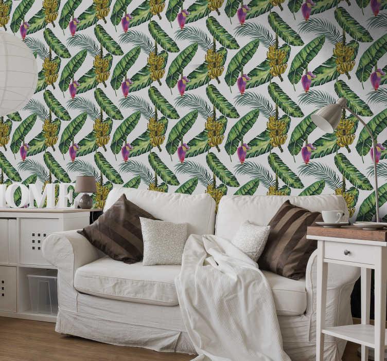 La nostra selezione di carte da parati in stile giungla è piena di motivi colorati e seducenti, ideale per qualsiasi stanza (incluso il soggiorno, la sala da pranzo o la camera da letto). Carta Da Parati Giungla Foglie Di Banano Tenstickers
