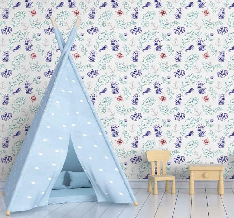 papier peint chambre enfant carte au tresor