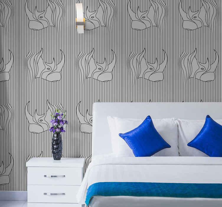 papier peint pour chambre adulte abstrait avec des rhinoceros sur