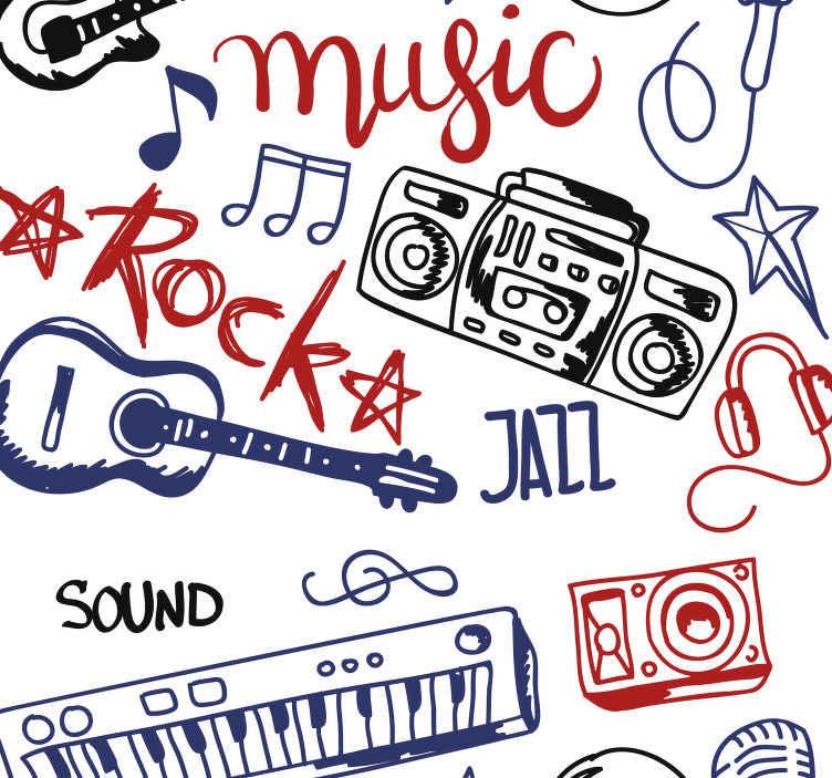 papier peint chambre instruments de musique