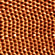 Hexagonal lattice structure of HOPG. Tunneling current image, 0.3 nA setpoint, 50 mV bias.