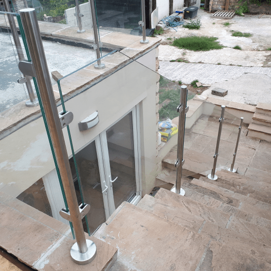 Bespoke Glass Balustrade outside bannister stairs